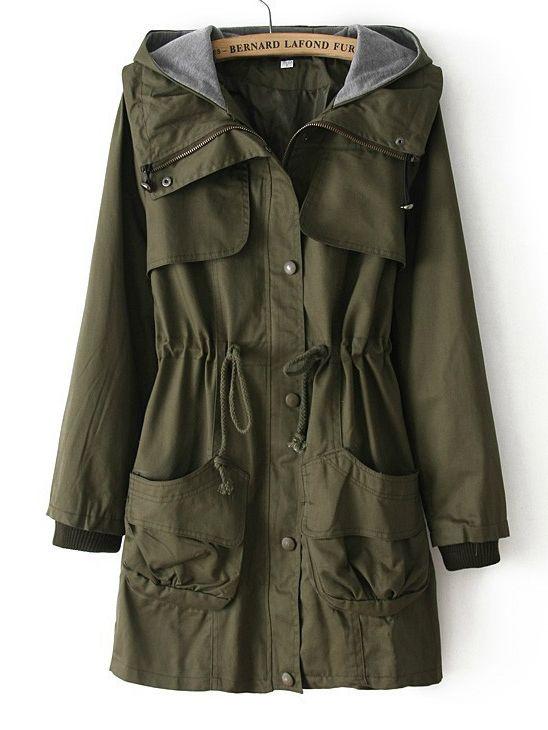 155452781c7c4 Army Green Hooded Long Sleeve Drawstring Pockets Coat US$39.67 | My ...