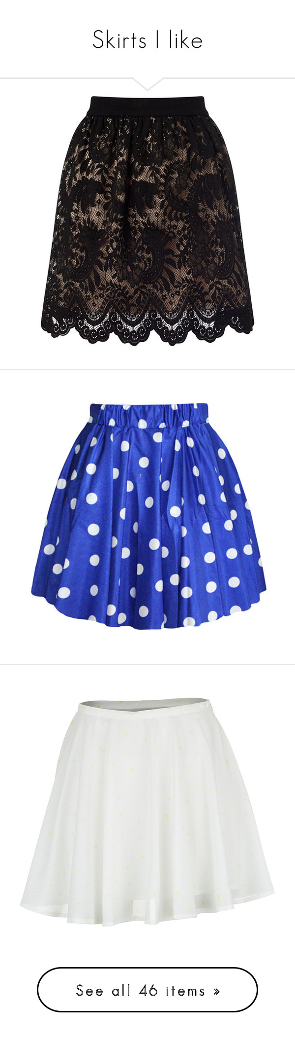 """Skirts I like"" by nerdbucket ❤ liked on Polyvore featuring skirts, lace skater skirt, tutu skirts, lacy skirt, flared skirt, knee length lace skirt, bottoms, blue, polka dot pleated skirt and blue skirt"