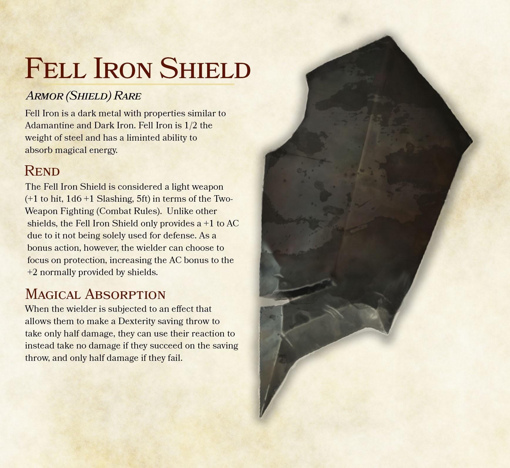 Fell Iron Shield : DnDHomebrew | DnD | Objet magique, Armures, Sortilège