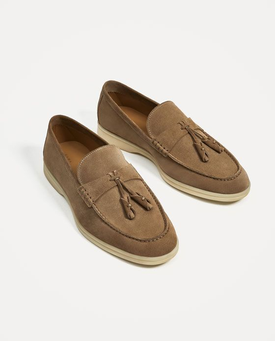 Image 1 Of Sporty Beige Leather Loafers From Zara Zapatos Hombre Calzado Hombre Zapatos Hermosos