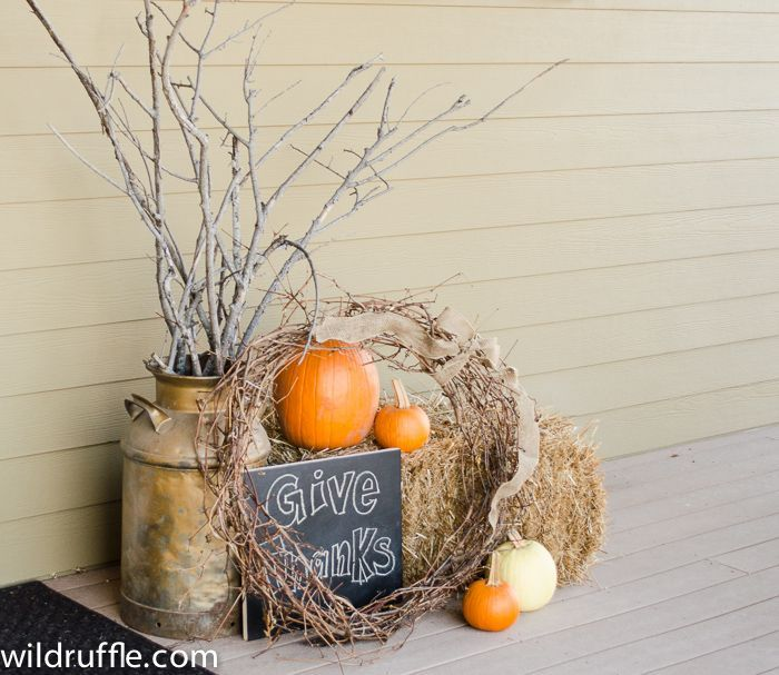 fall decorating with jugs Thanksgiving front porch decor - halloween milk jug decorations