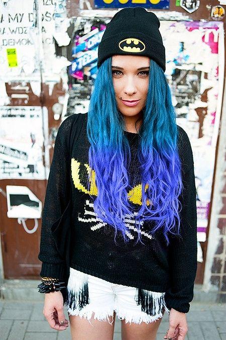 Deep dip dye from teal to purple. #blue hair