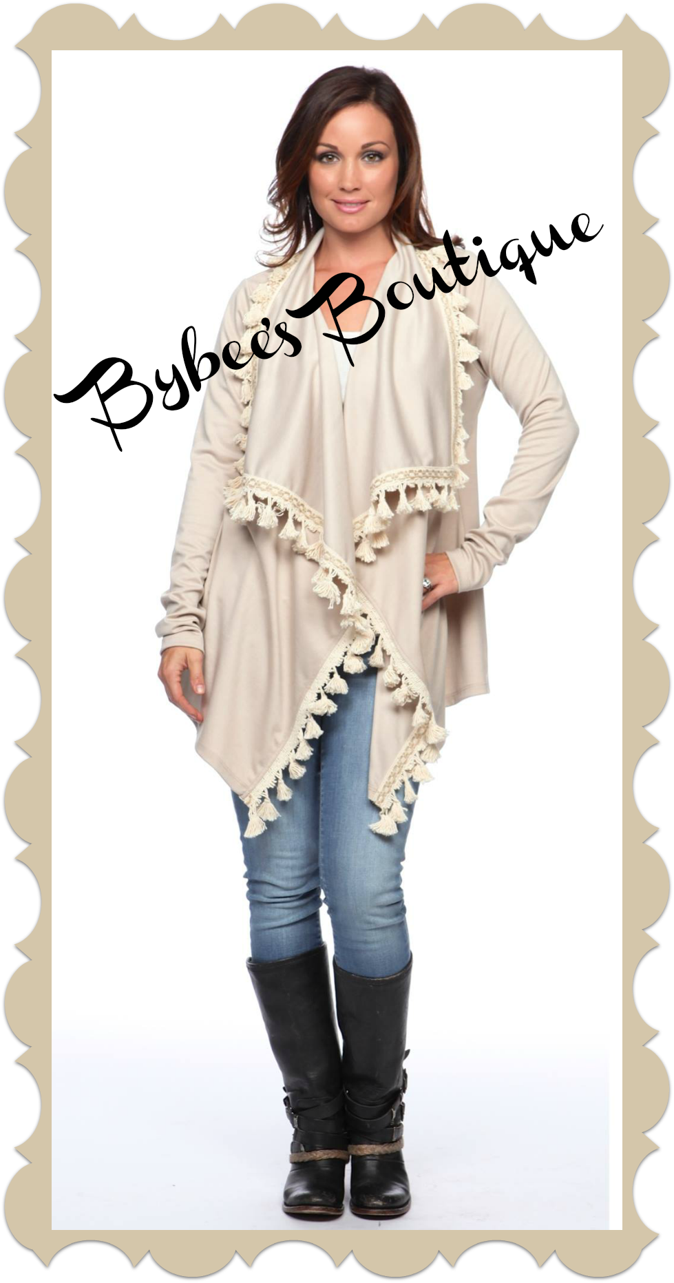 Love this taupe fringe tassel cardigan. Sizes: Small-Medium Medium-Large