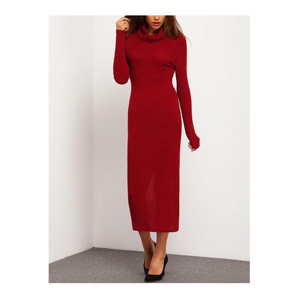164f84d850 SheIn(sheinside) Burgundy Turtleneck Back Slit Sheath Long Dress ($15) ❤  liked