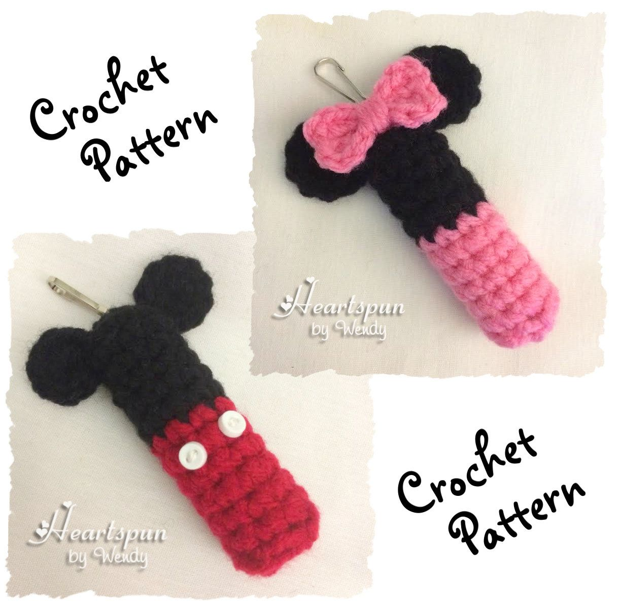 CROCHET PATTERN to make a Mickey Mouse & Minnie Mouse Lip Balm ...
