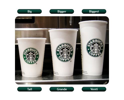 Name The Biggest Size Of Starbucks Coffee Comparatives