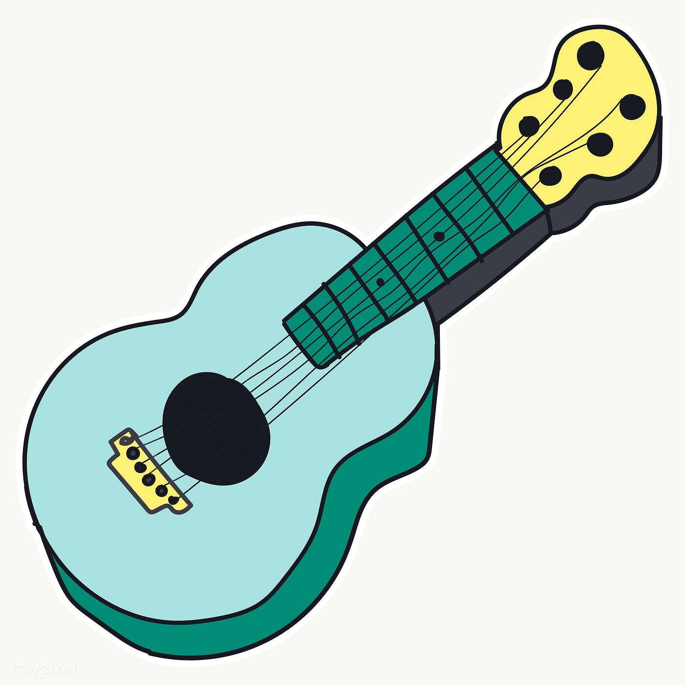 Download Premium Png Of Hand Drawn Cute Guitar Sticker Transparent Png In 2020 Guitar Stickers Transparent Stickers How To Draw Hands
