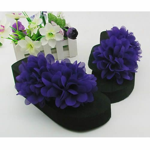 Purple Rosette Black Flat Prom Bridesmaid Evening Cocktail Sandals Shoes SKU-1091040