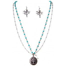 Silver Turquoise Tree of Life Necklace Set