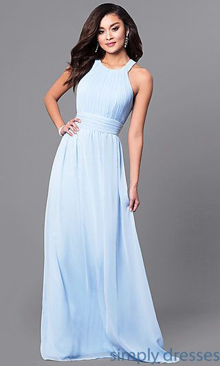 Pastel Long Prom Dress With Ruched High Neck Bodice Prom