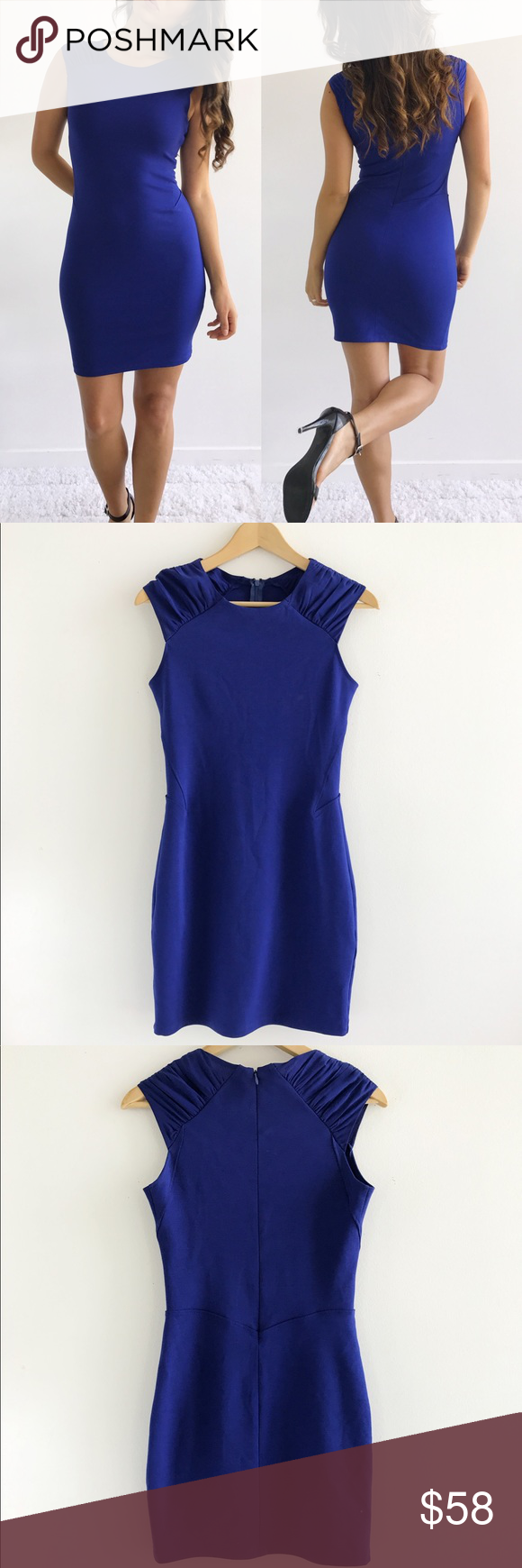 "Barneys New York Royal Blue Dress Barneys New York Royal Blue Dress! Excellent condition. Super comfortable and stretchy. Fitted. 100% silk shoulders. Concealed back zipper. Rayon Polyester spandex blend. Chest-31"" waist-27"" hips-34"" length-34.5"" size 2. Barneys New York Dresses Mini"