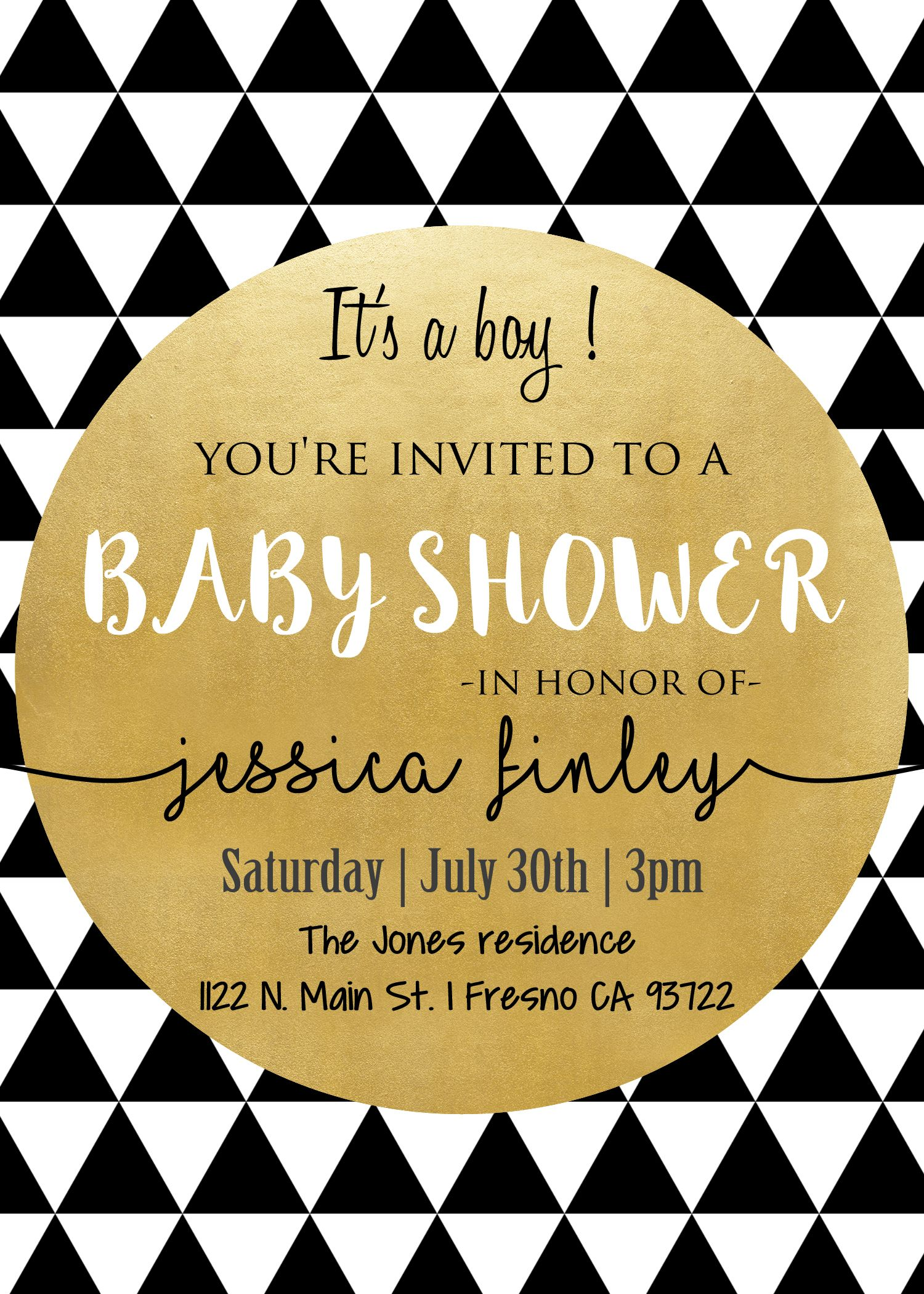 Modern black white gold baby shower invitation invite tribal modern black white gold baby shower invitation invite tribal chic triangles its a filmwisefo Images