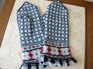 "Latvian mittens were knit originally on needles varying in size from 0-0000 (2-1.25 mm, 13-16 English). The yarn was usually a fine 2-ply homespun similar to an 8/2 weaving yarn or as fine as a ""fingering yarn"". The pattern asks that you find your own gauge with your own needles and yarn and then adjust the graph based on a sizing chart at the back of the book."