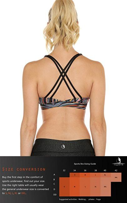 85c75f0a24981 IcyZone Sports Bra for Women Workout Yoga Tops Athletic Strappy Padded  Bralette (L