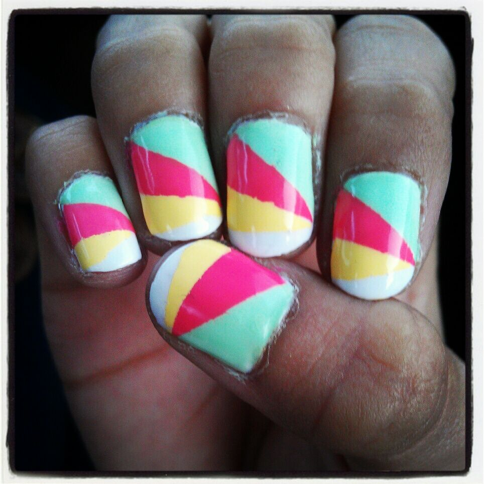 Messy First attempt at Colorblock Nails