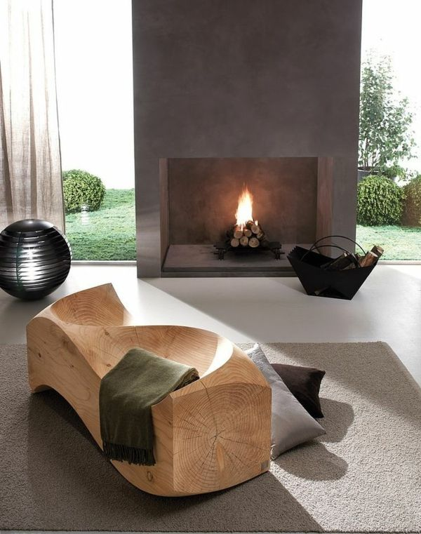 Wohnzimmer Modern Einrichten Ausgefallenes Sofa Dekokissen Kamin