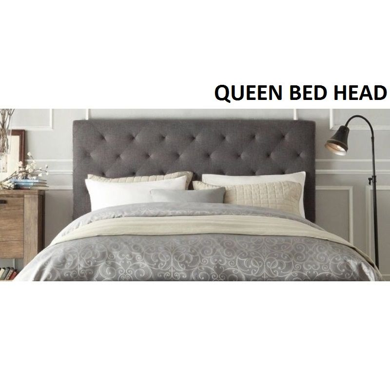 Chester Queen Size Fabric Bed Head Headboard Grey | Buy Queen Size ...
