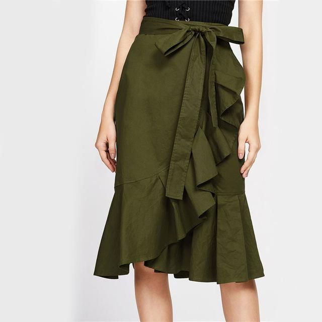 Fashion  Skirt Autumn Asymmetrical A Line Casual Skirt Women Knee Length Elegant Skirts