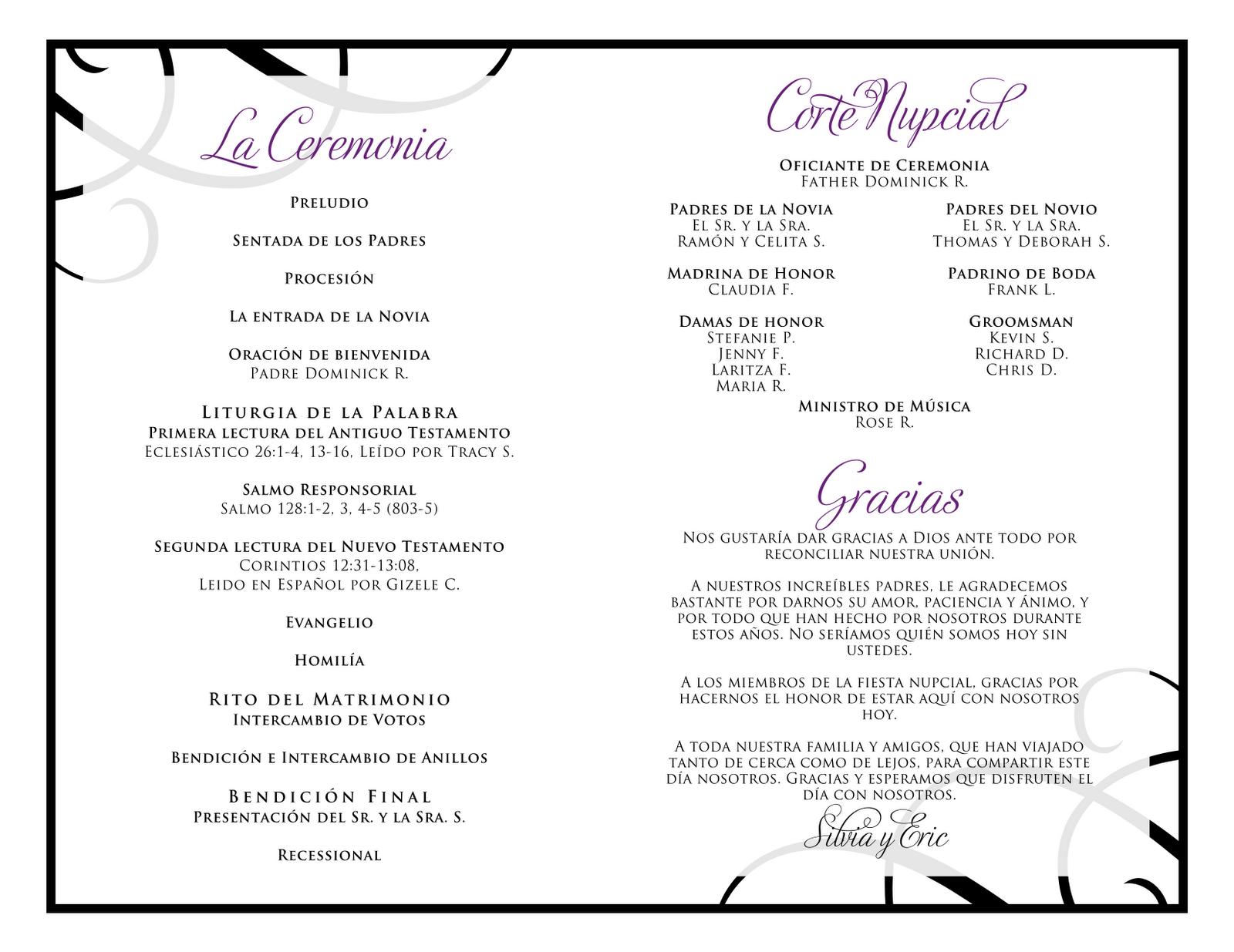 wedding programs in spanish - Google Search | Wedding Invitations ...