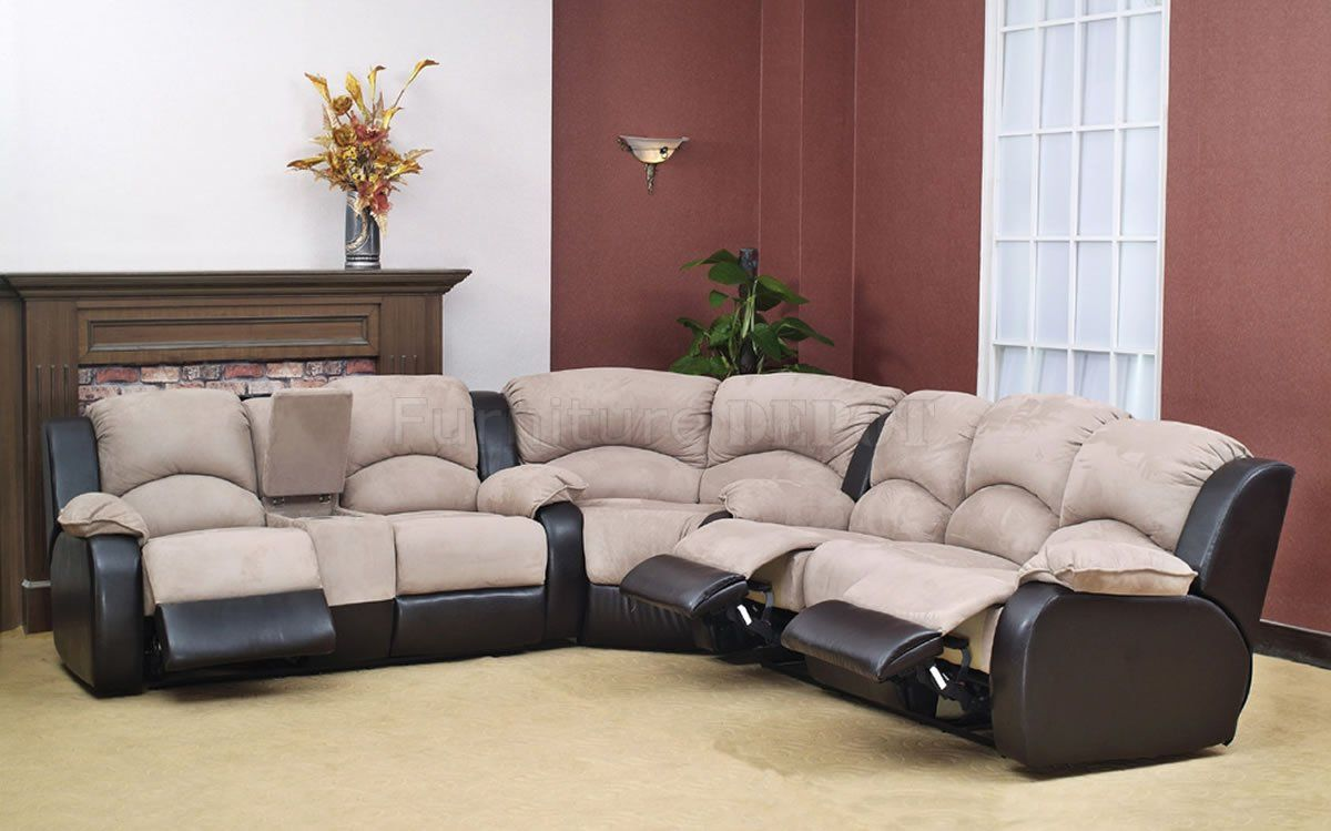 Two Tone Microsuede Bycast Modern Reclining Sectional Sofa For