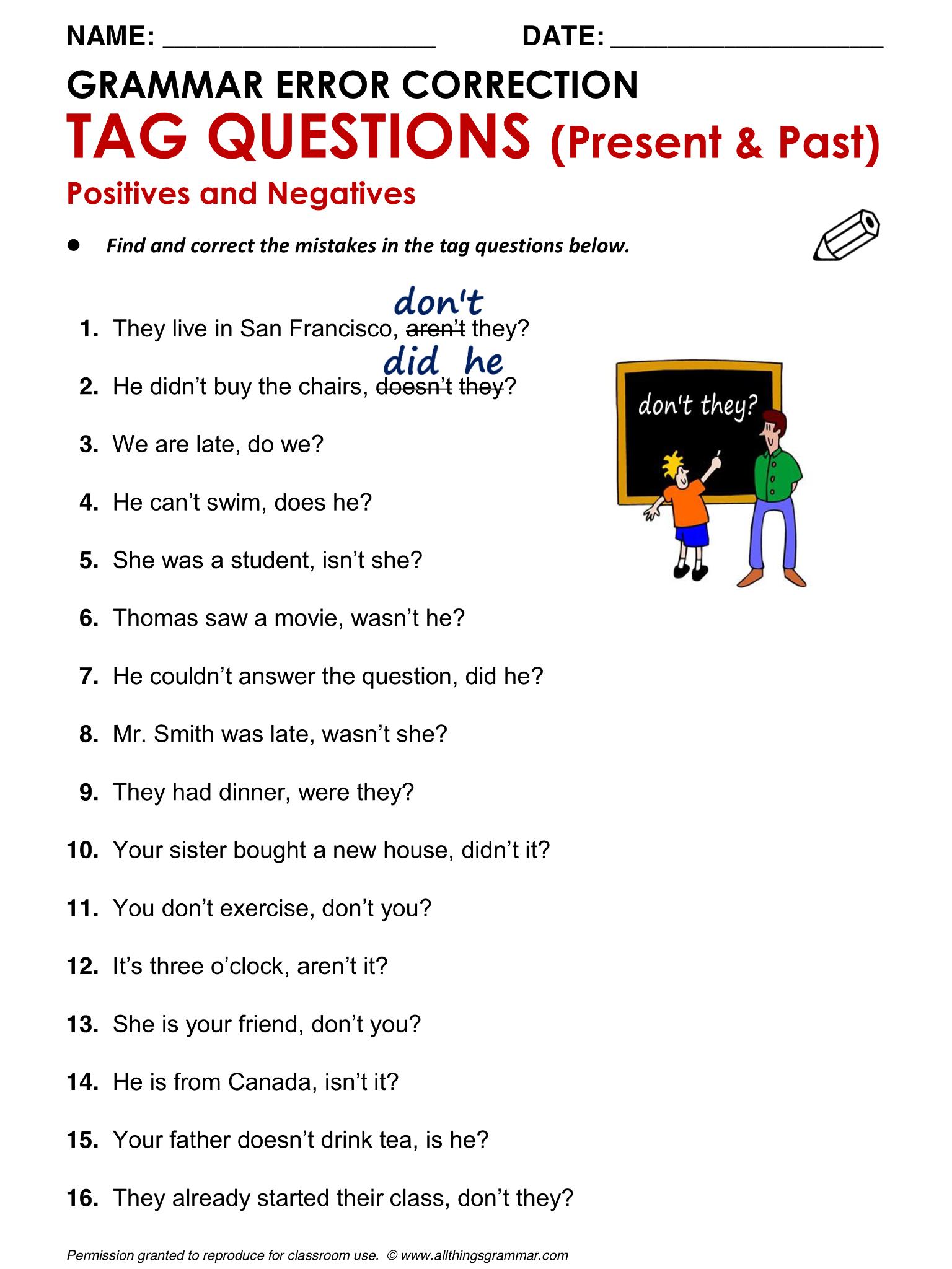 English Grammar Tag Questions www.allthingsgrammar.com/tag ...