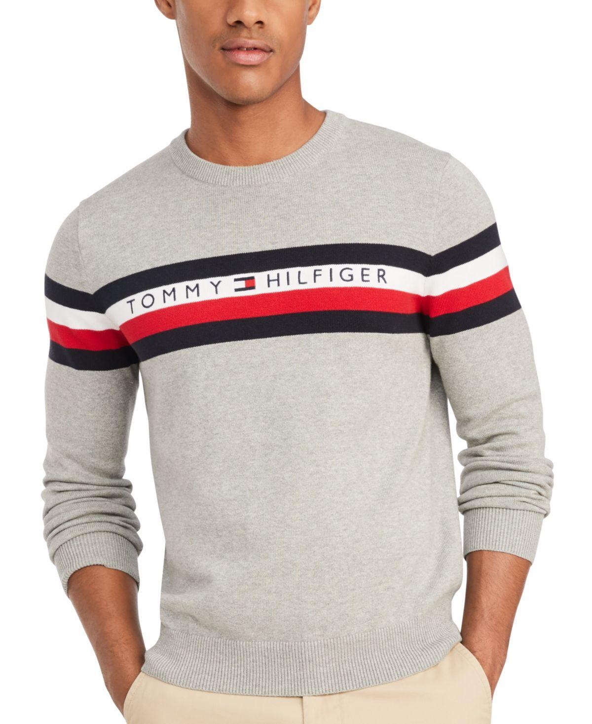 Tommy Hilfiger Men S Casper Regular Fit Stripe Embroidered Logo Sweater Sport Grey Heather Tommy Hilfiger Man Tommy Hilfiger Tommy [ 1466 x 1200 Pixel ]