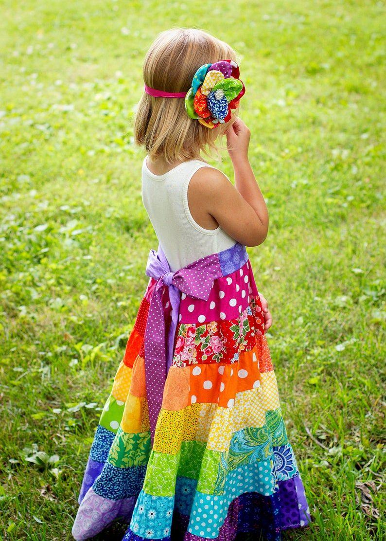 Easter dress rainbow dress boho dress flower girl dress