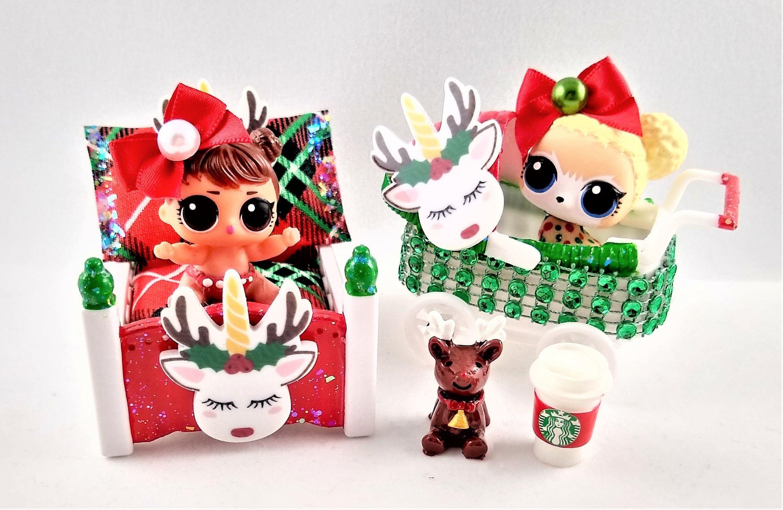 Christmas Unicorn Reindeer Doll Furniture Set Bed Stroller