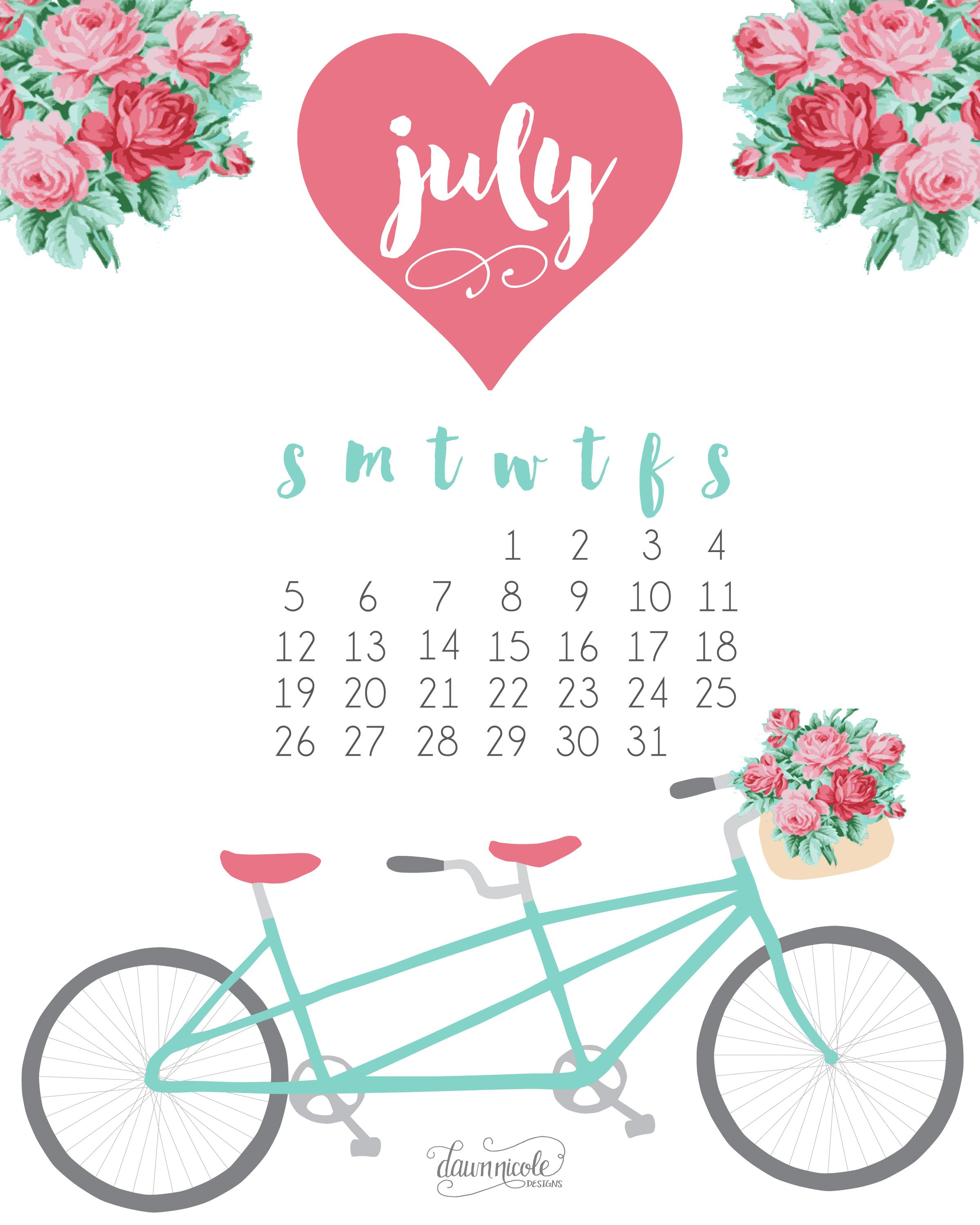 Calendar Wallpaper Originals : July calendar free printable