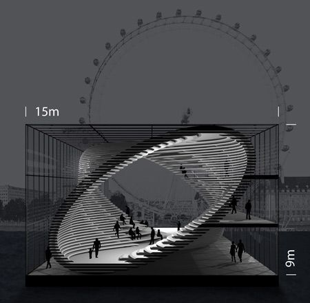 Konzeptionelle, mobile Galerie, entworfen, um entlang der Themse in London zu reisen … - Architektur und Kunst #landscapeplans