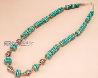 "Native American Navajo Turquoise & Bronze Necklace 23.5"""" (151)"