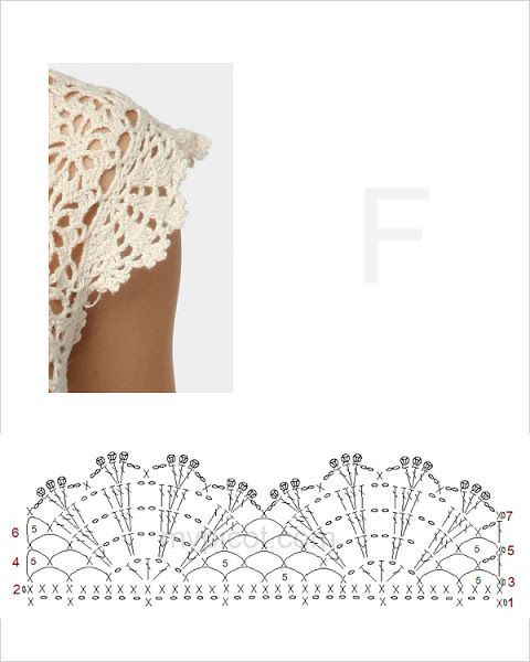 """I want to add this edging to a tank top or very short sleeve shirt. It would look really cute! ༺✿ƬⱤღ✿༻ [   """"This crochet cap sleeve edging would look classic in black on a bright jewel toned shirt"""",   """"sleeve edging More - Crocheting Journal"""",   """"I want to add this crochet edging to a tank top or very short sleeve shirt."""",   """"Open fan boarder or cute little cap sleeve!"""",   """"Use edging as sleeve pattern"""",   """"edging dbl-beginning of sleves?"""",   """"edging for chrochet garment"""",   """"edging and…"""
