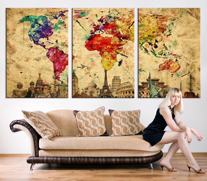 Large CANVAS PRINT - Large World Map Canvas Art Print, Large Wall ...