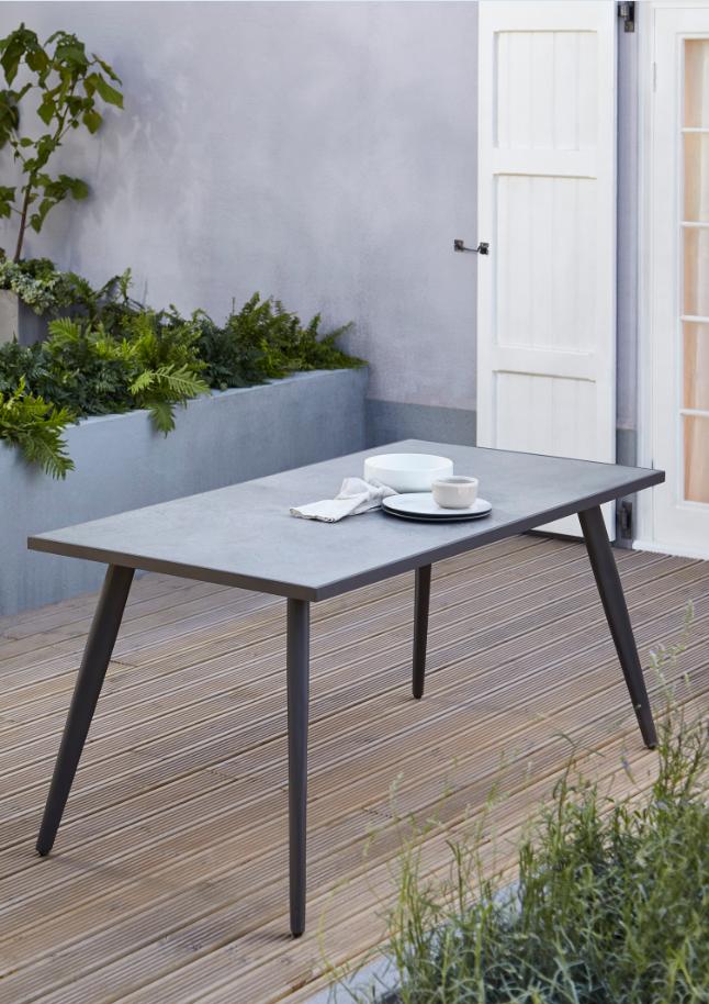 Table de jardin métal rectangulaire Blooma Katalla grise 162 x 82 cm ...