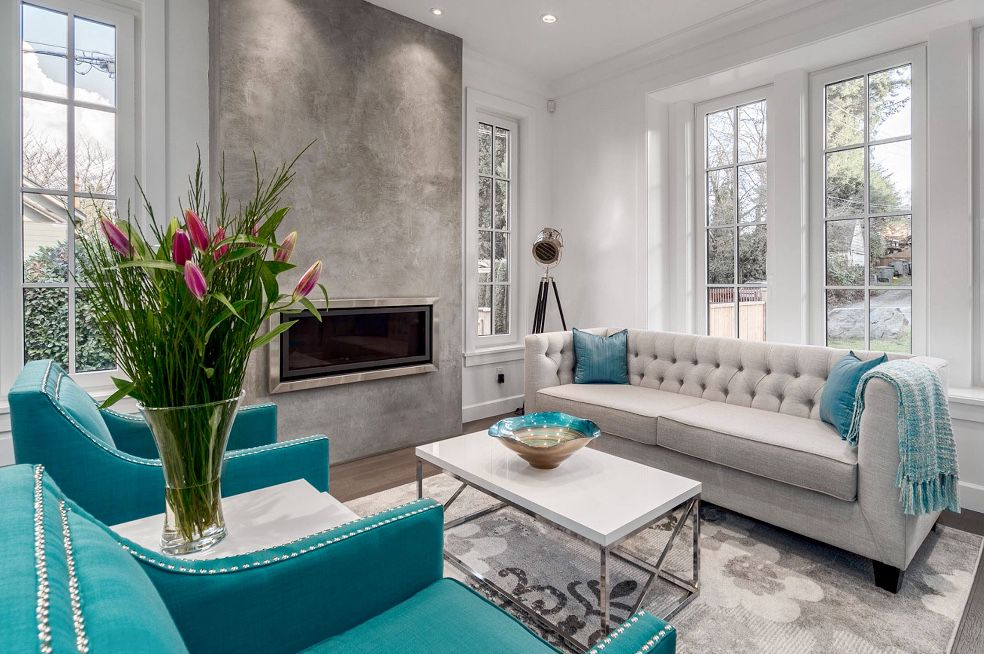 Cozy Grey And Teal Transitional Living Room Living Room Turquoise Living Room Color Schemes Living Room Grey