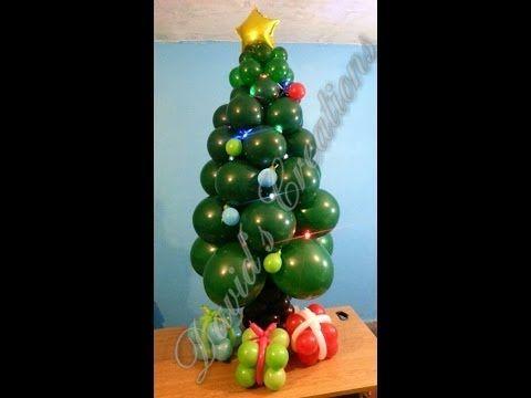 Como hacer un arbol navide o con globos how to make a - Como hacer adornos navidenos ...