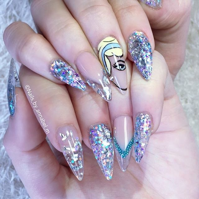 Lauraa Beth 21st Birthday Cinderella Nails With Glass Slipper Nails Obviously Using Amazing Acrylic Glit Quinceanera Nails Birthday Nails Cinderella Nails