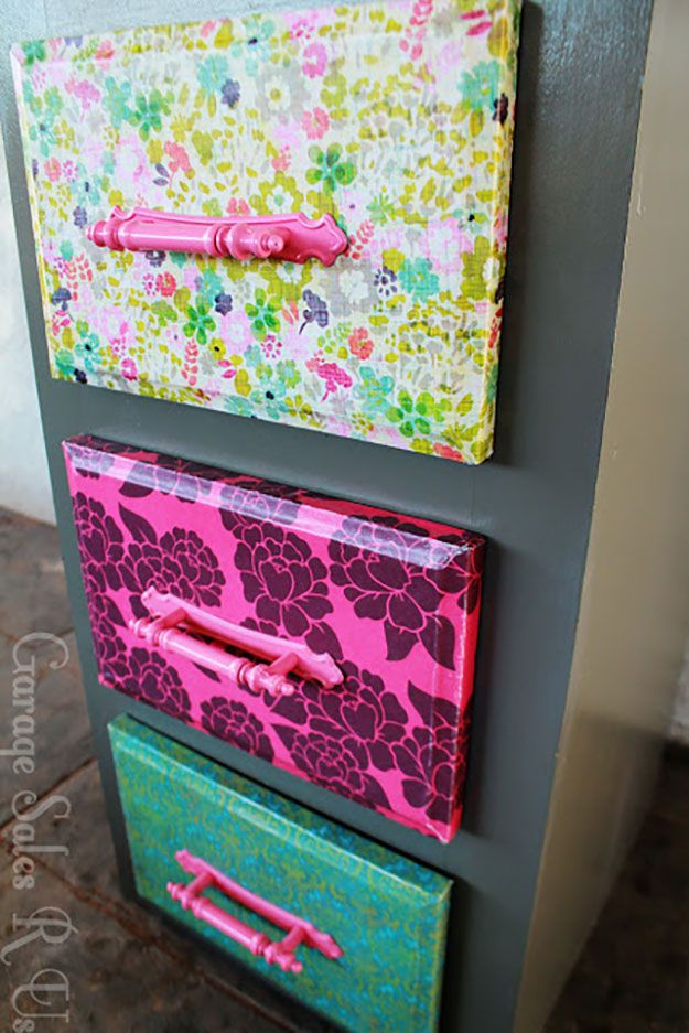 DIY Teen Room Decor Ideas For Girls | DIY Mod Podge Dresser Drawers With  Scrapbook Paper