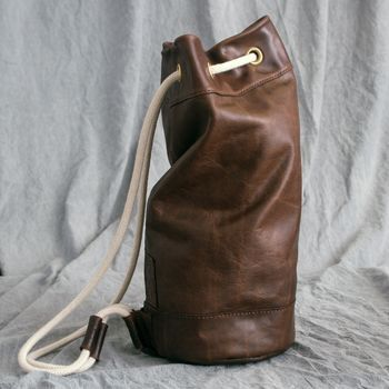 Leather Sailor Duffel Bag Hand Stitched  80f5bd83222c4