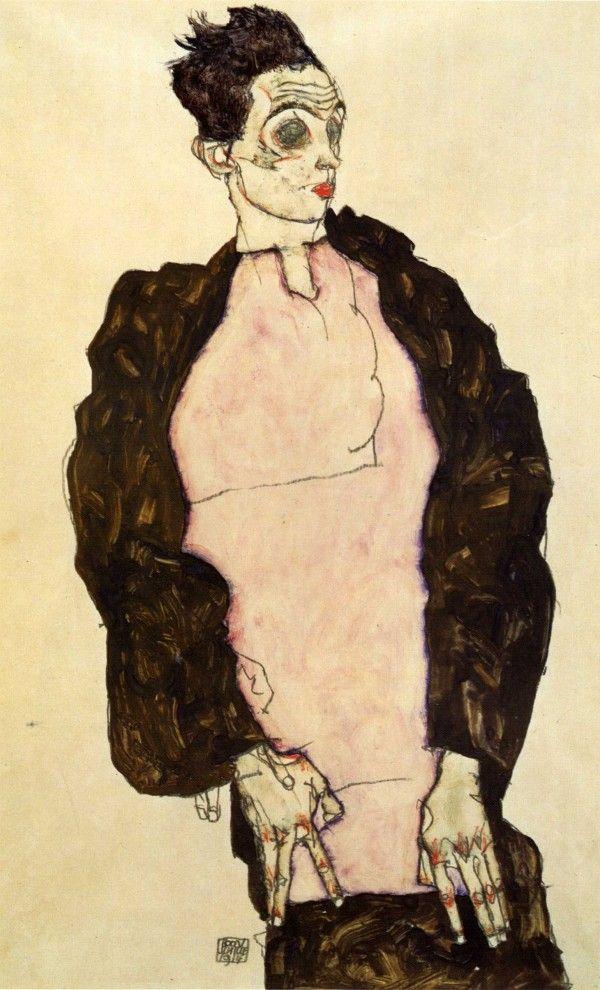 Egon Schiele, Self-Portrait in Lilac Shirt (1914), gouache, watercolour, and pencil, 48.4 x 32.2 cm.