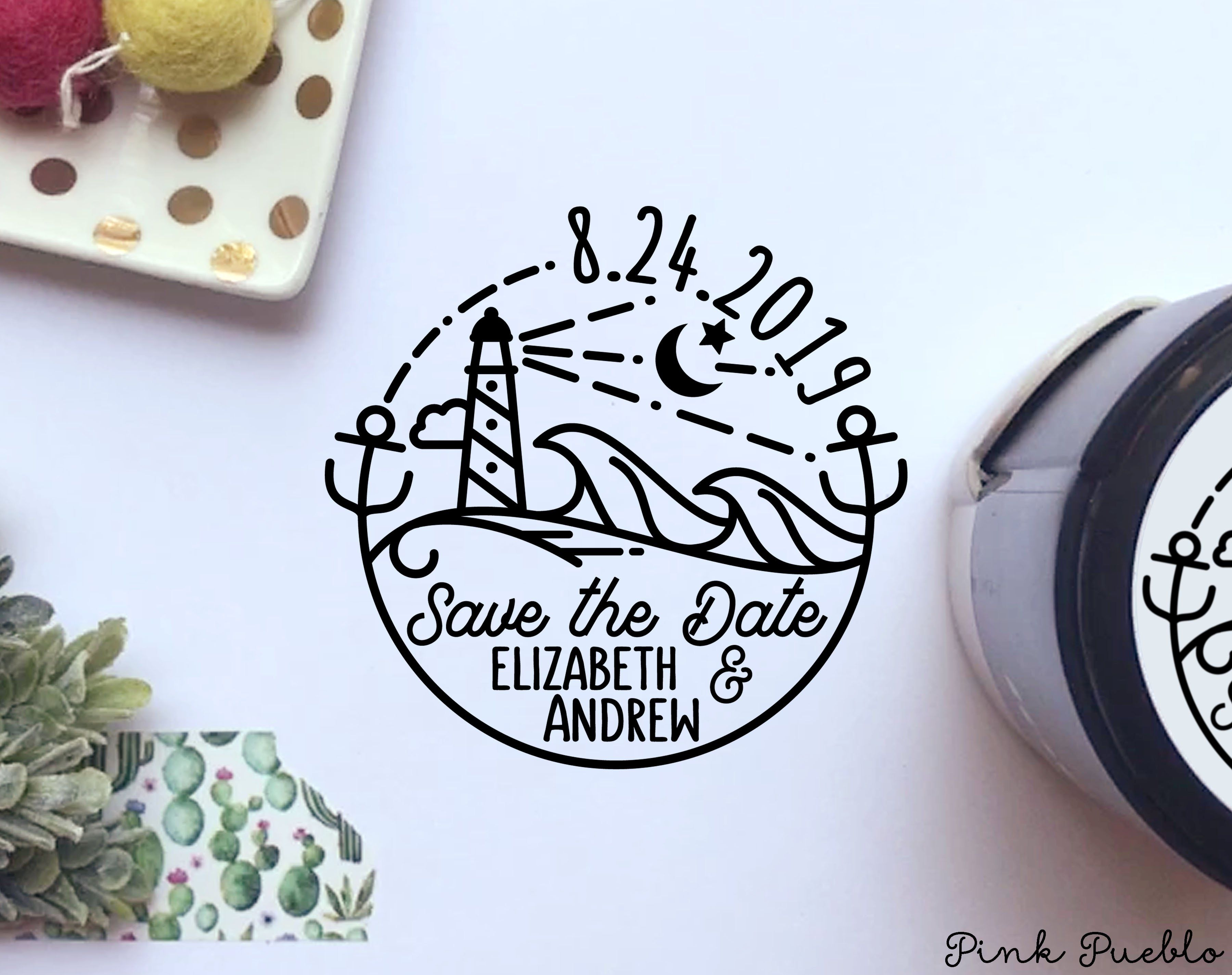 Self Inking Save The Date Stamp With Beach Round Self