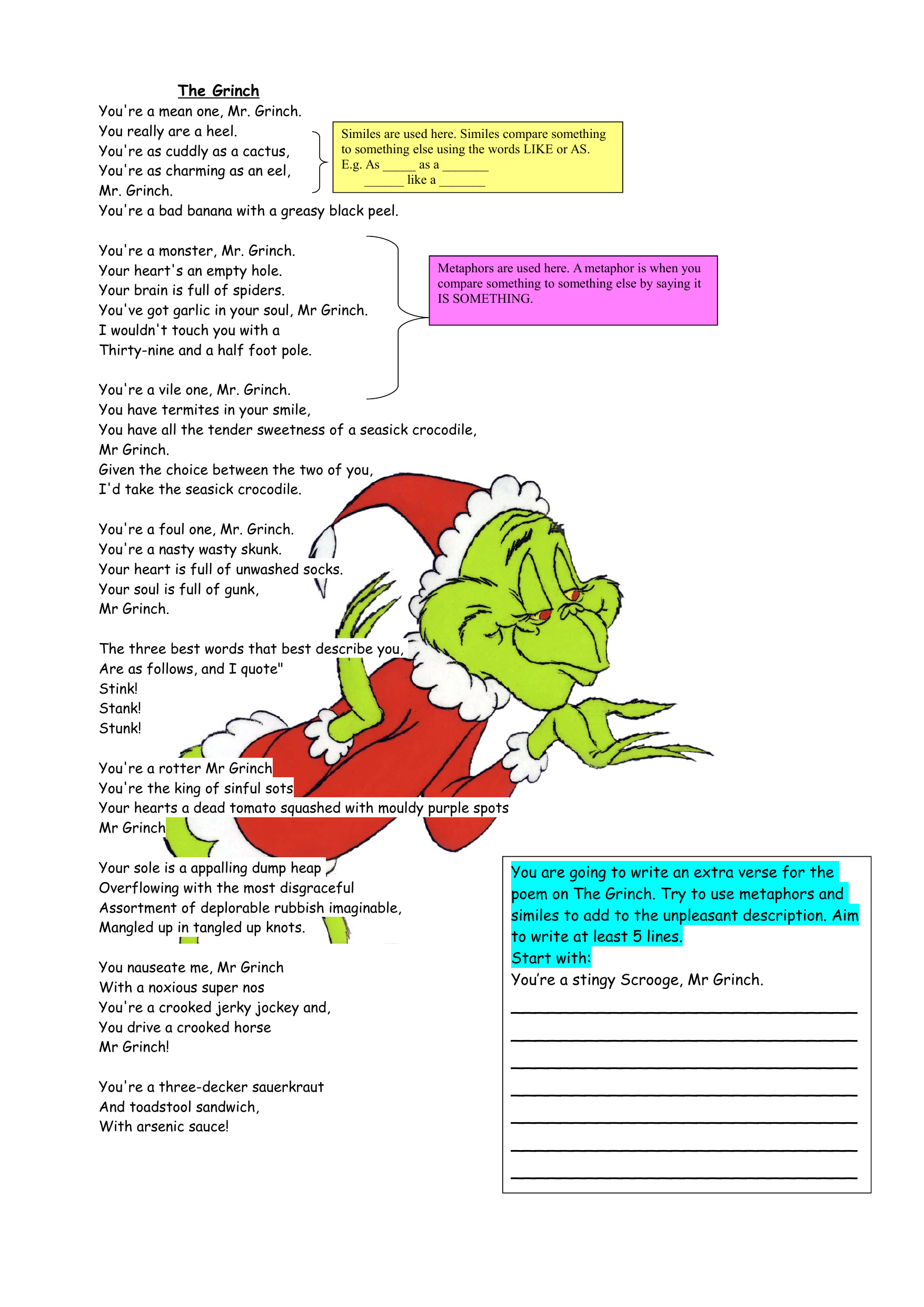 The Grinch Christmas Poetry Lesson By Ndavidson91