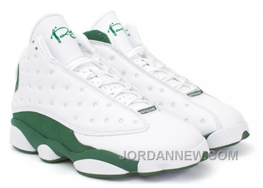 Discount Authentic 414571-125 Womens Nike Air Jordan 13 Shoes Ray Allen PE White/Clover