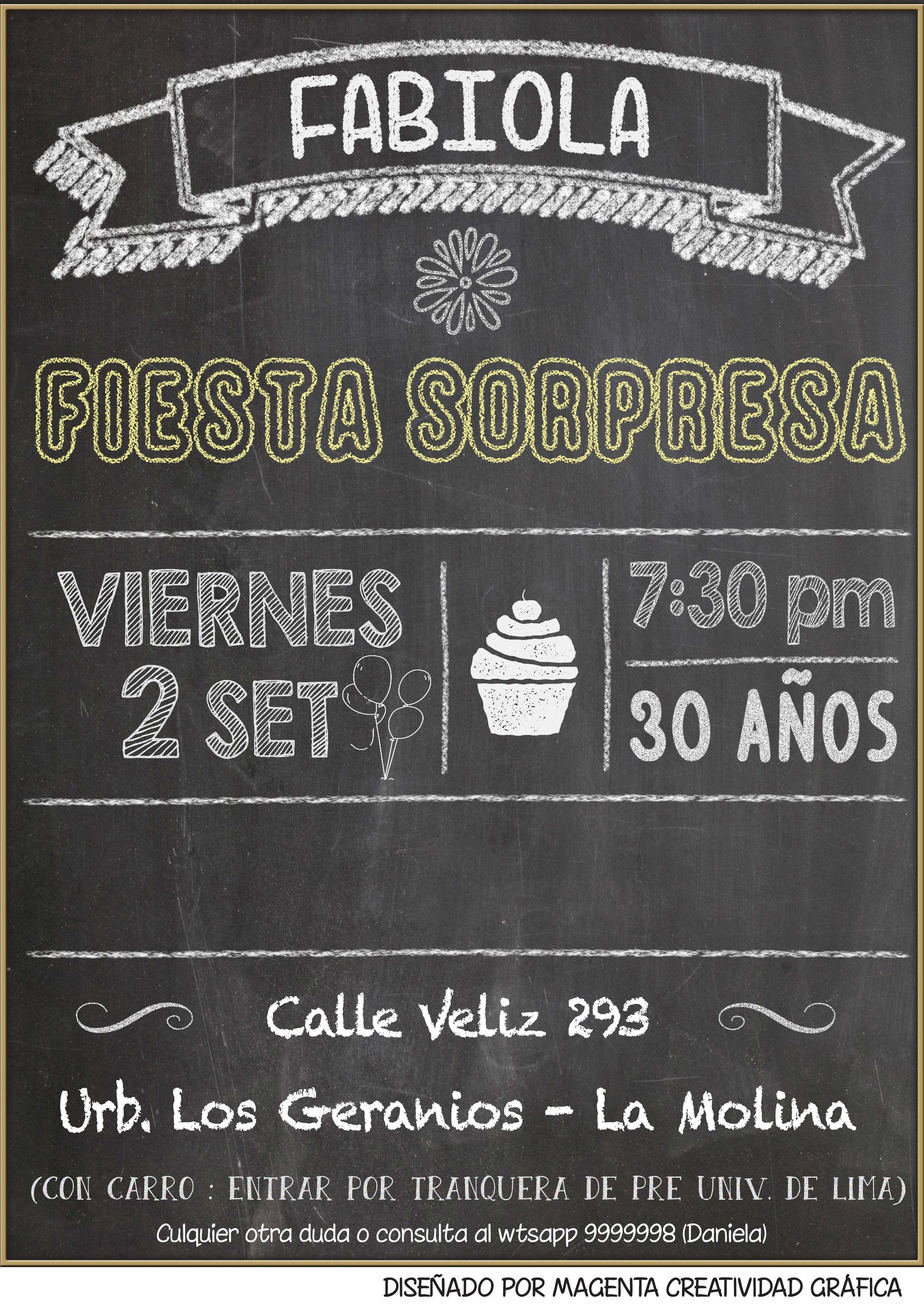 Magenta Perú Invitación Cumpleaños Sorpresa 30 Años