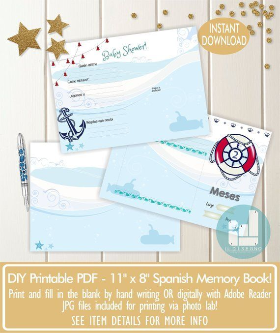 Spanish Nautical Printable Baby Book - Nautical Baby Book - Baby Shower Gift - Baby record Book - Baby Gift - New Mom Gift - Baby Keepsake #babyrecordbook Spanish Nautical Printable Baby Book - Nautical Baby Book - Baby Shower Gift - Baby record Book - Ba #babyrecordbook