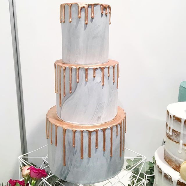 Marble Wedding Cake With Copper Drip