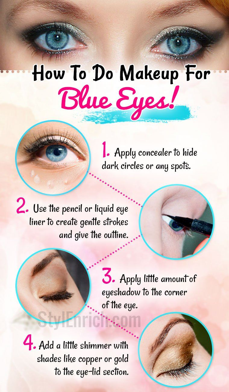 makeup for blue eyes to define the look and shade of the