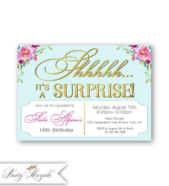 Surprise Teen Birthday Invitations Sweet Sixteen