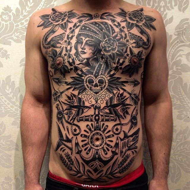 Massive Naval Old School Chest Piece Tats Tattoos Traditional