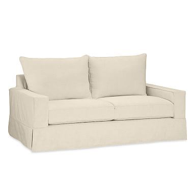 PB Comfort Square Arm Deluxe Sleeper Sofa Slipcover, Knife Edge, Belgian Linen Toast